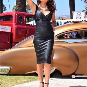 Rocksteady glamorous, black leather looking dress